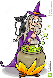 witch casting a spell cartoon illustration royalty free stock