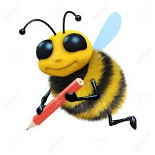 3d render of a honey bee drawing with a pencil stock photo