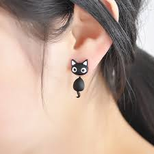store stud earrings aliexpress buy 1 pcs kitten cat stud earrings cat black