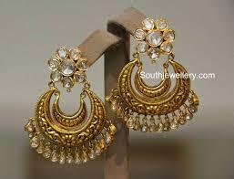 chandbali earrings polki diamond chandbali earrings jewellery designs
