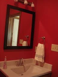 red bathroom ideas fabulous black square wall mirror frame hang on red wall painted