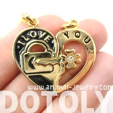 key shaped necklace images Couples 2 piece heart shaped quot i love you quot lock and key pendant JPG