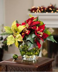mixed poinsettia silk flower centerpiece at officescapesdirect