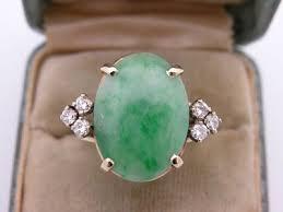 estate art deco natural apple emerald green jade diamond ring
