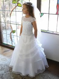 communion dresses embroidered mesh illusion neckline w draped organza skirt