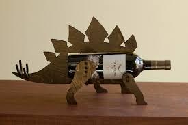 wine o saur wooden dinosaur wine rack stegosaurus