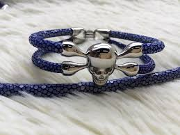 black skull bracelet images 2015 high end qualtiy real silver black skull stingray bracelet jpg