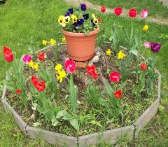 large flower garden design ideas with colorful flower bed this