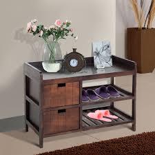 homcom wooden shoe rack storage entryway bench organizer w drawer