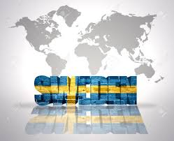 World Map Sweden by Word Sweden With Swedish Flag On A World Map Background Stock