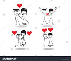 hand drawing cartoon valentines day couple stock vector 356724866