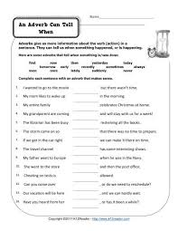 an adverb can tell when adverbs worksheets and free printable