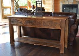 Sofa Console Table Furniture Reclaimed Teton 3 Drawer Sofa Table Rustic Console Table