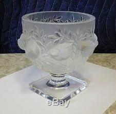 Lalique Vase With Birds Crystal Elizabeth Bird Vase Footed Bowl French Art Glass
