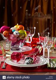 christmas table setting formal festive editorial food stock photo