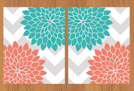 Gray And Teal Bedroom by Floral Flower Burst Coral Teal Grey Chevron Wall Art Nursery