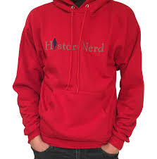 deep red color history nerd pullover sweatshirt with ben franklin deep red