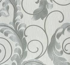 Silver Metallic Wallpaper by Marburg Da Milano Non Woven Wallpaper 55104 Vines Design Silver