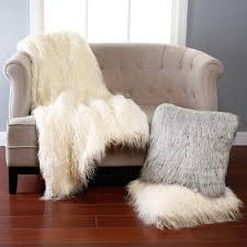 furniture ivory furry faux fur throws