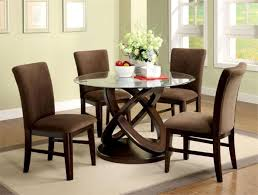 furniture transparent glass round dining table set with crossing furniture transparent glass round dining table set with crossing round dark brown wooden base added by brown velvet chair with brown legs on grey rug