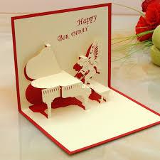 10pcs piano angle 3d folding pop birthday card boy birthday