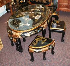 Glass Oval Coffee Table by Black Lacquer Asian Glass 48