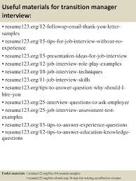 Manager Sample Resume Top 8 Transition Manager Resume Samples