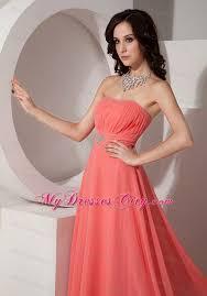 ruched and beaded long watermelon chiffon bridesmaid dress