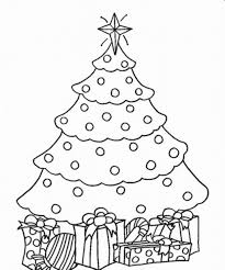 coloring page of christmas tree with presents christmas tree with presents drawing find craft ideas