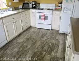 wood tile flooring in kitchen