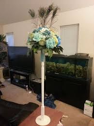 peacock centerpieces my diy peacock centerpieces what do you think pic heavy