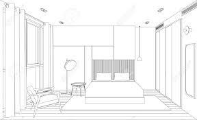 chambre en perspective esquisse de ligne de la chambre intérieure perspective vue croquis
