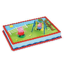 peppa pig cakes peppa pig cake kit 1cake topper with 2 figurines 3 4