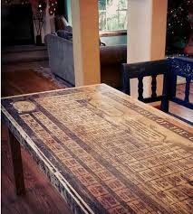 reclaimed wood periodic table dining table features reclaimed