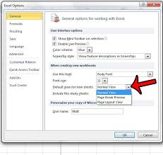 how to make page layout the default view in excel 2010 solve