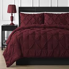 comfy bedding 3 piece pinch pleat comforter set full burgundy
