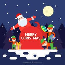 imagenes de santa claus feliz navidad fondo de feliz navidad de santa claus con elfos descargar vectores