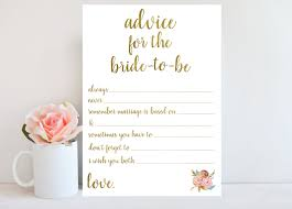 marriage advice cards for wedding advice for to be bridal shower advice cards printable
