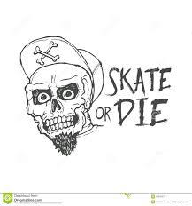 skate or die lettering tattoo design skater scull stock vector