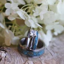 Unique Wedding Rings by Unique Wedding Ring Set Moissanite Engagement Ring Turquoise Bands