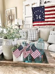 4th of july living room decor ideas bless this nest a grandma because i love collecting random old pieces like crocks and blue mason jars these guys really add something special to my 4th of july decor