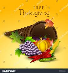 happy thanksgiving day celebration concept fruits stock vector