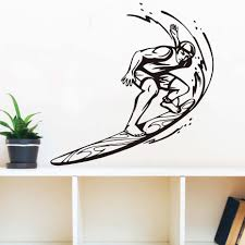 popular surfer wall mural buy cheap surfer wall mural lots from dctop cheapest customized colors surfer riding wave sport wall mural living room art vinyl surf waves