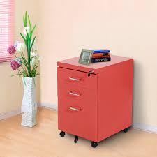 metal file cabinet with lock homcom 3 drawers metal filing cabinet lockable w wheels red