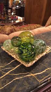 set of six green blown glass balls invio furniture