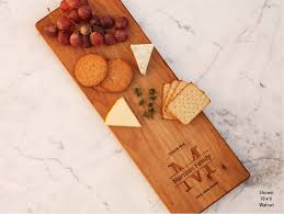 monogram cheese board custom cheese board engraved wedding gift last name