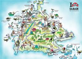 map with attractions sabah attractions map ilovesabah