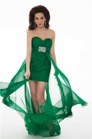 high low hem strapless emerald green chiffon ruched homecoming