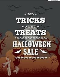 4 designer halloween sales poster vector material
