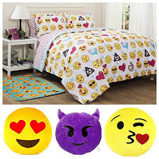 emoji girls complete bedding comforter set with 3 decorative